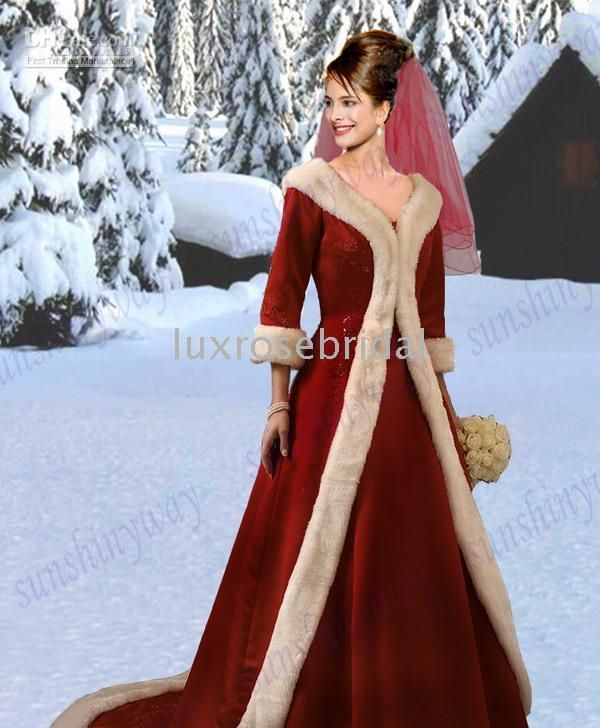 Velvet Custom Made Winter Wedding Dress Bridal Gowns