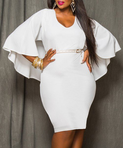 Sexy White V-Neck 3 4 Bell Sleeve Bodycon Cape Dress For Women 3XL 4043edee93c5
