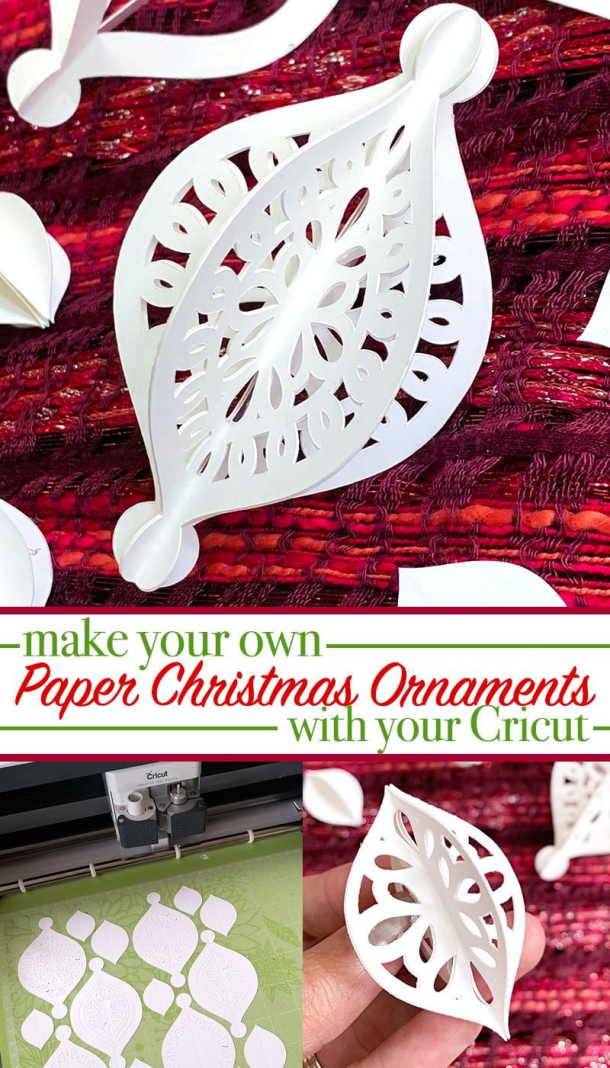 Make your own homemade Christmas ornaments with your Cricut plus a pretty SVG cut design created by Jen Goode. #christmasornaments #paper #christmas #ornaments