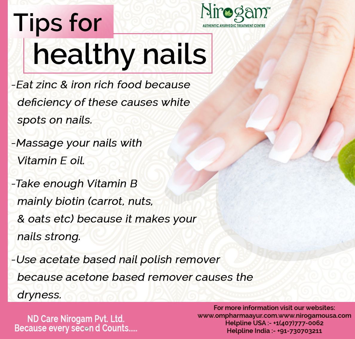 Nails reflect our general state of health. Discoloration, growth ...