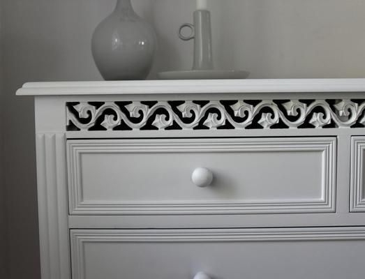 Large White Fretwork Chest Of Drawers By Out There Interiors