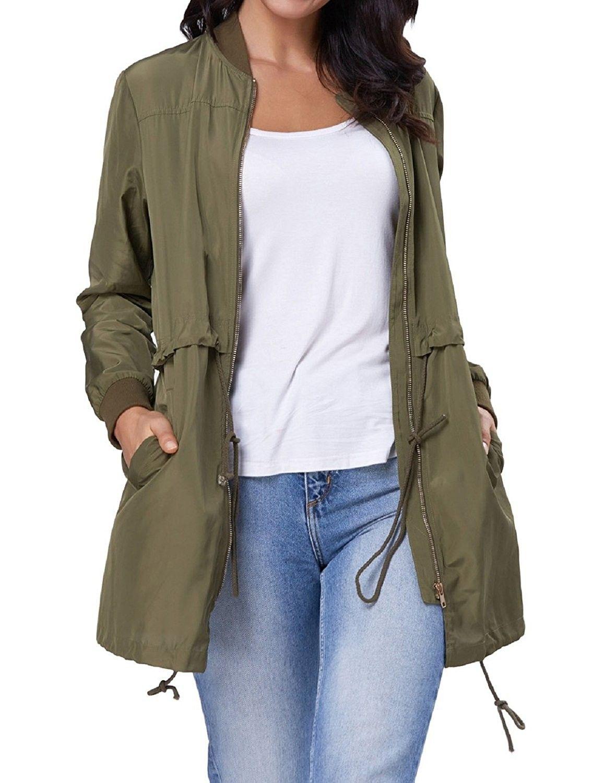 Women S Stylish Lightweight Long Utility Drawstring Jacket By Kk719 Army Green Cn187lnd4gh Drawstring Jacket Jackets Stylish Clothes For Women [ 1500 x 1159 Pixel ]