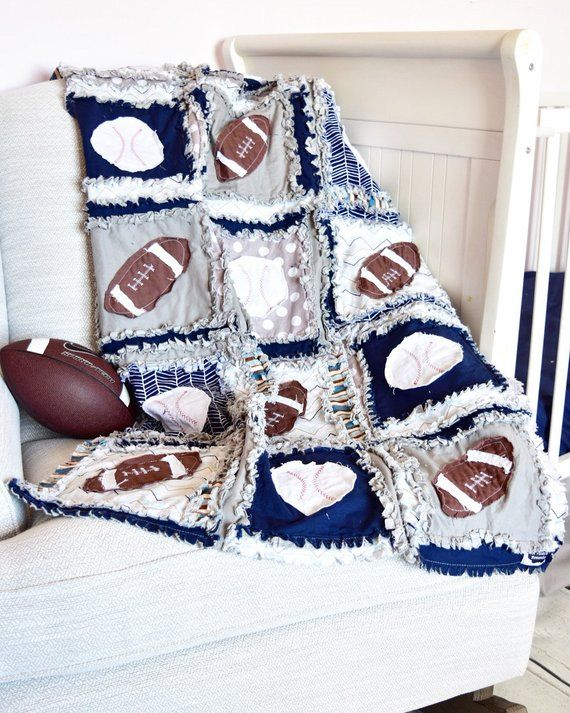 Photo of Baby Boy Sports Crib Size Rag Quilt for Nursery Crib Bedding – Navy / Blue / Gray Baby Bedding – Includes Footballs and Baseballs