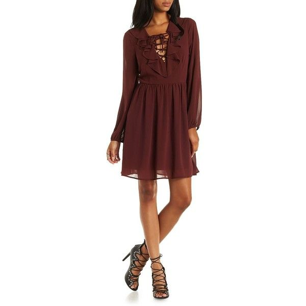 Charlotte Russe Brown Ruffle Lace-Up Skater Dress by Charlotte Russe... (£20) ❤ liked on Polyvore featuring dresses, brown, skater dress, red skater skirt, long sleeve dresses, chiffon dress and brown skater skirt