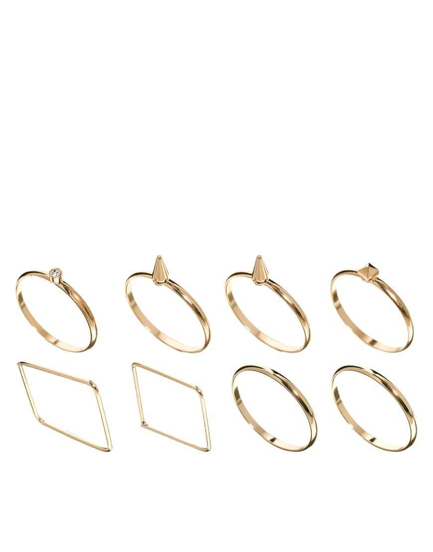 Asos ring shapes pack