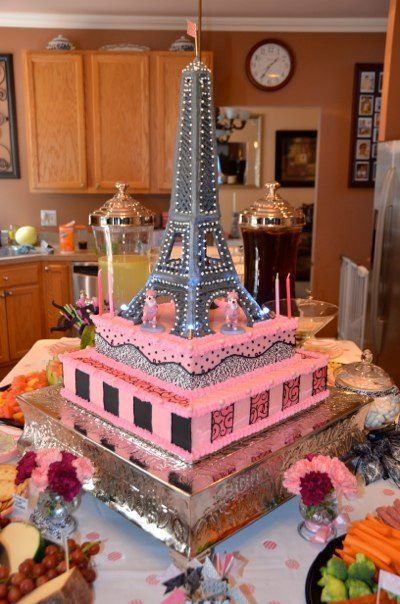Paris Theme Party Eiffel Tower Cake Tower Made Of Royal