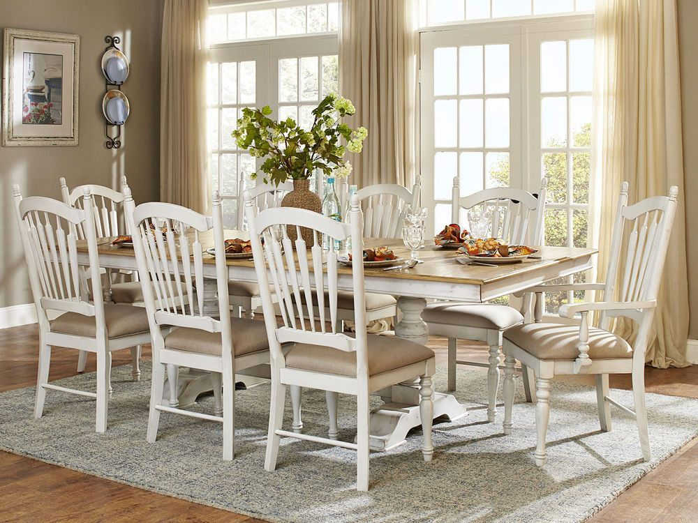 Flora9 Pieces Cottage White Rectangular Dining Room Table Chairs Glamorous Handmade Dining Room Chairs Decorating Design