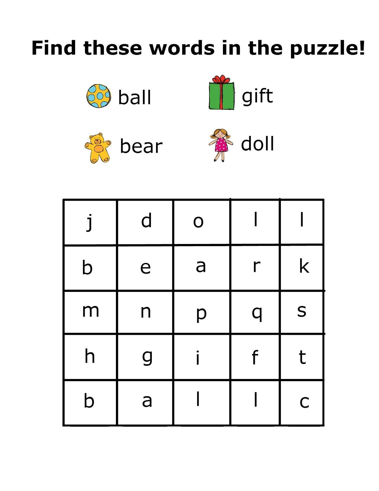Simple Word Search For Preschool