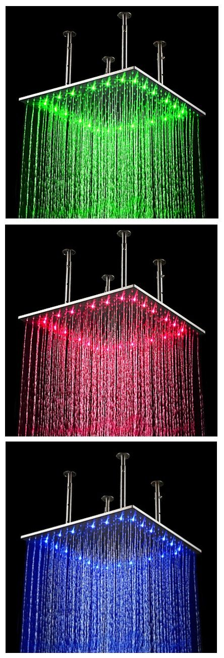 Contemporary Rain Shower Brushed Feature for LED / Rainfall ...