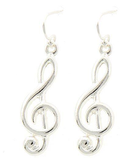 """Silver tone treble clef earrings. 1 1/2"""" drop. 3/8""""W x 1 1/8"""" L"""
