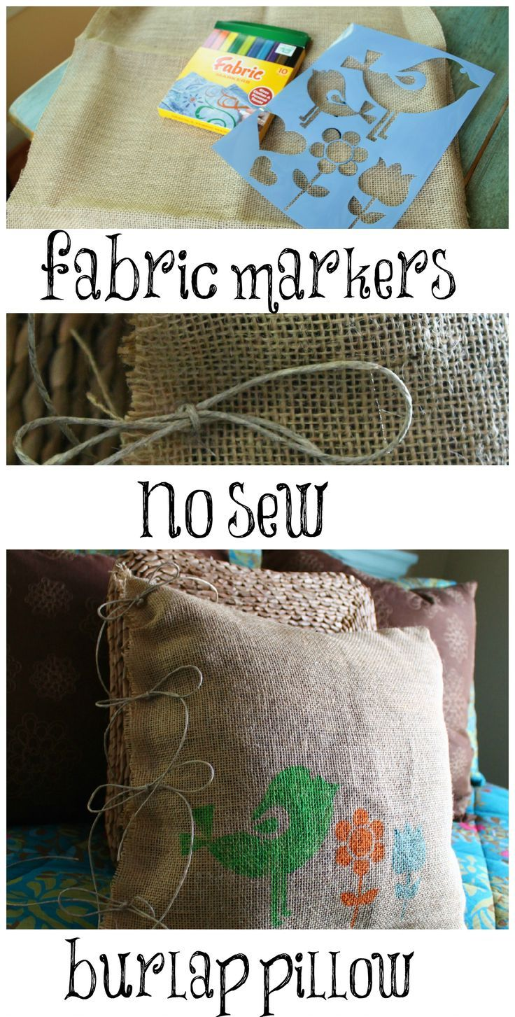 burlap no sew pillow stenciled with fabric markers & Diy no sew burlap pillow stenciled with fabric markers | Fabric ... pillowsntoast.com