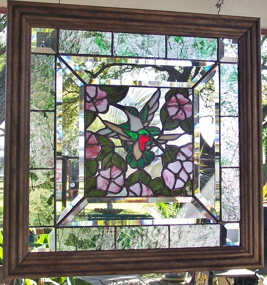 Stained glass window art panel hummingbirds tiffany style handcrafted wood frame ebay