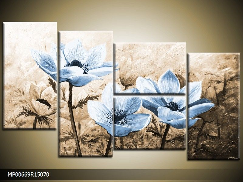 Acrylverf schilderij Woonkamer | Kleur: Blauw , Bruin | MP00669 ...