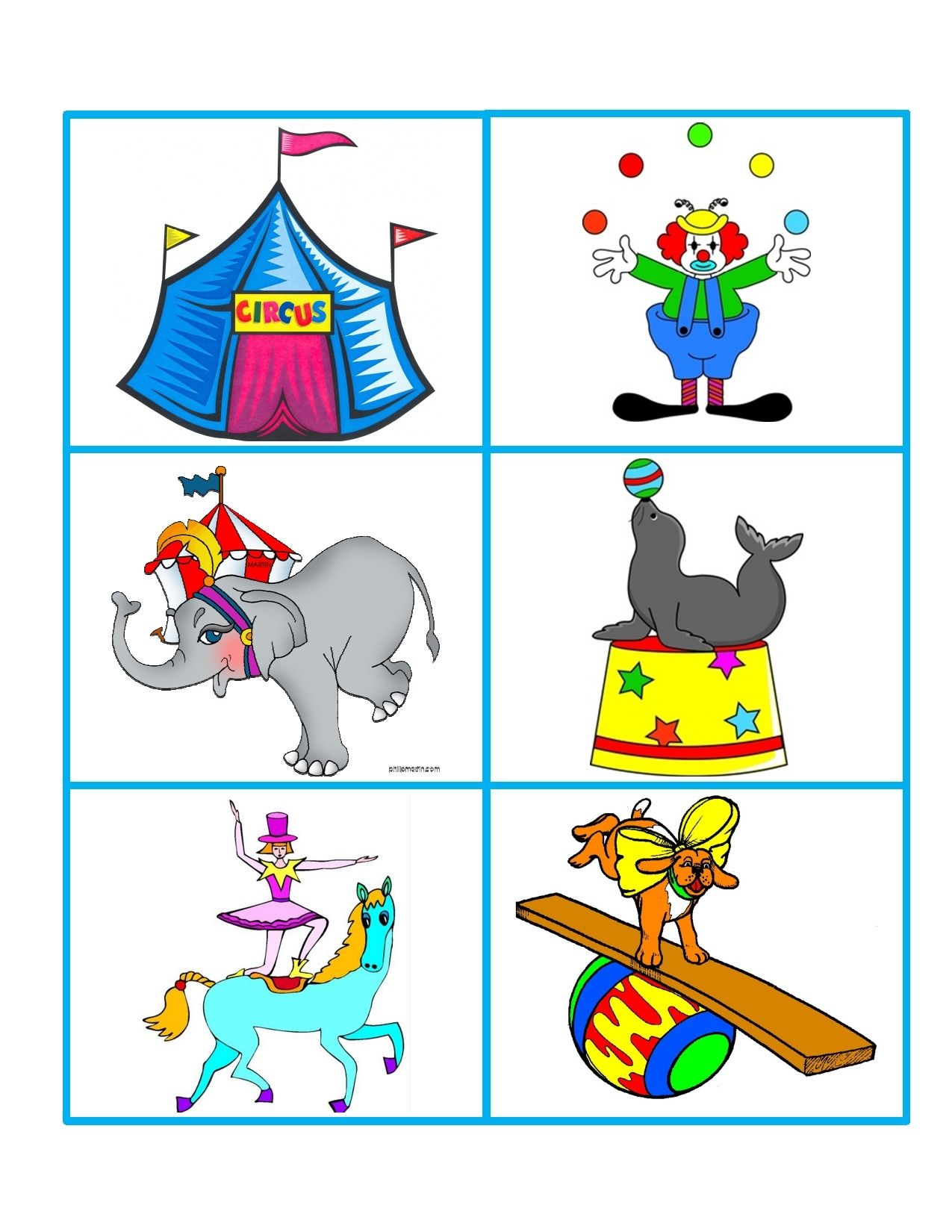 Circus Memory Game Encourages Language Development And Visual Acuity Development