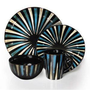 American Atelier Pinwheel Stripes 16 Piece Dinnerware Set in Blue  sc 1 st  Pinterest : blue casual dinnerware - pezcame.com