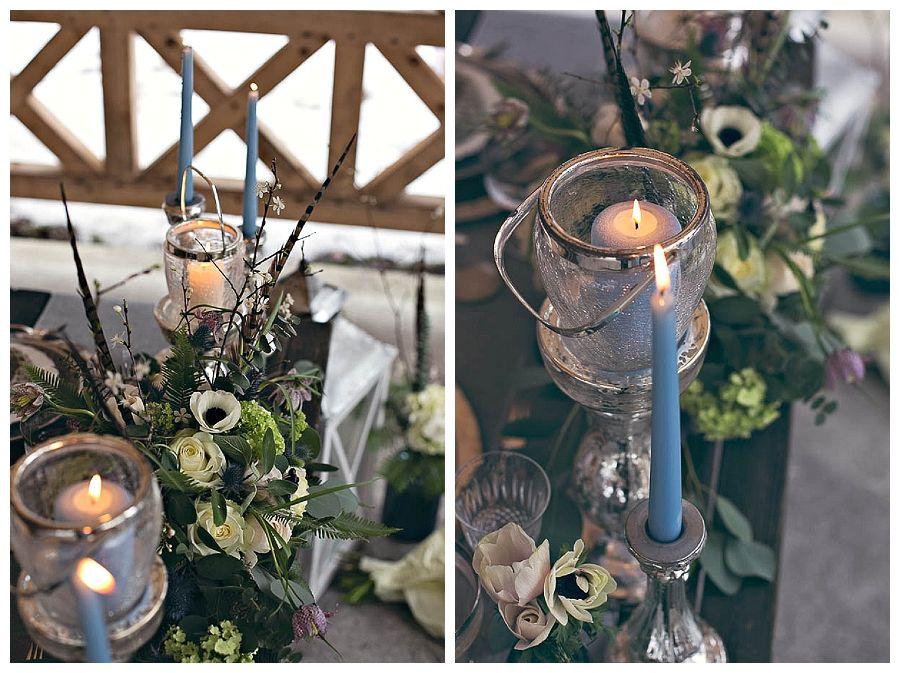 Hochzeitsmadels Winterhochzeit Tischdeko Blau Silber