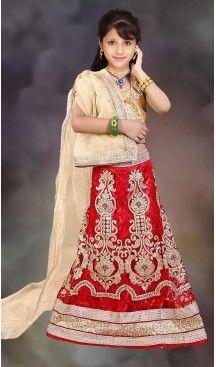 350f9a0f9aa Red Color Net Circular Style Kids Girls Lehenga Choli