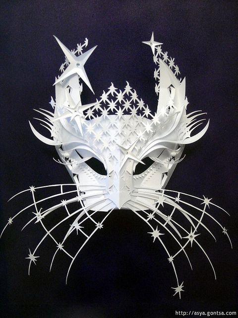 Cat mask Ukrainian paper sculptor and relief artist, Asya Gontsa.