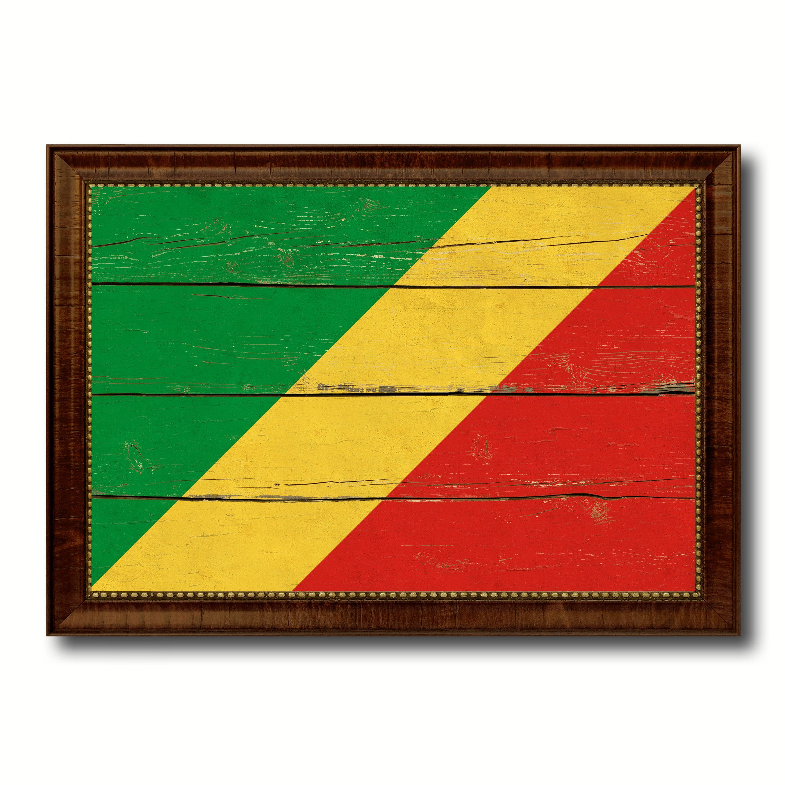 Congo Republic Country Flag Vintage Canvas Print with Brown Picture ...