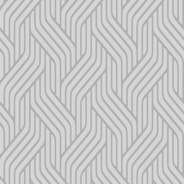 Pembrey Silver Geometric Wallpaper Departments Diy At Bq