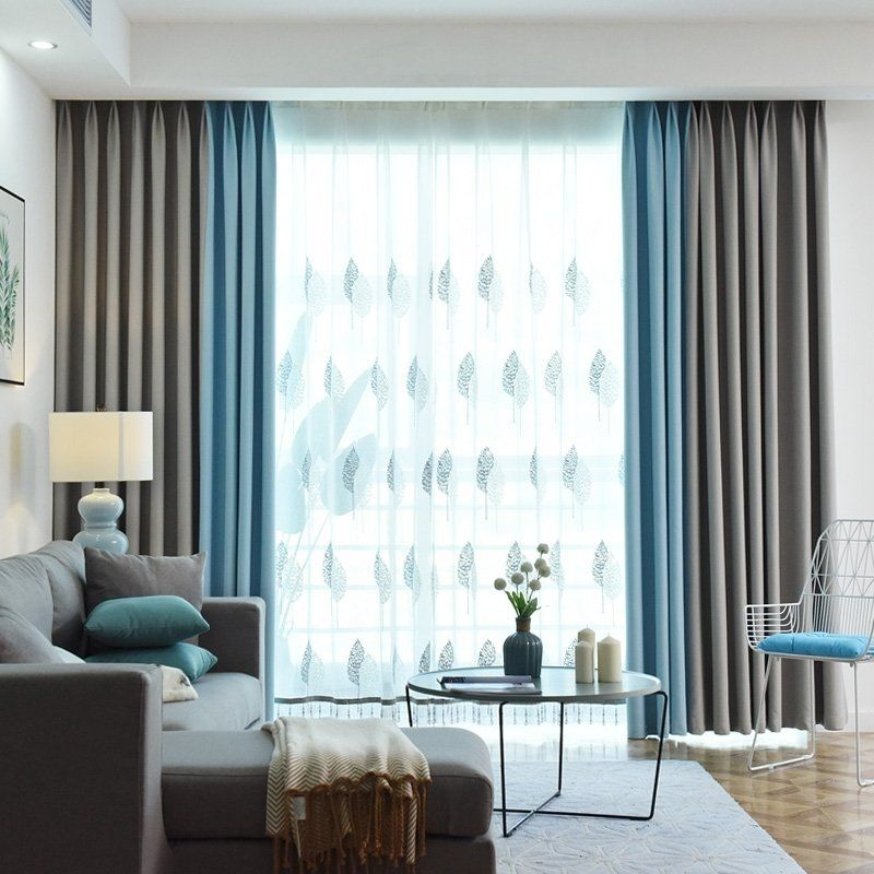Sky Blue And Gray Solid Color Simply Shabby Chic Living Room Blackout Curtain Blue Living Room Decor Blue Sofas Living Room Shabby Chic Living Room #shabby #chic #living #room #curtains