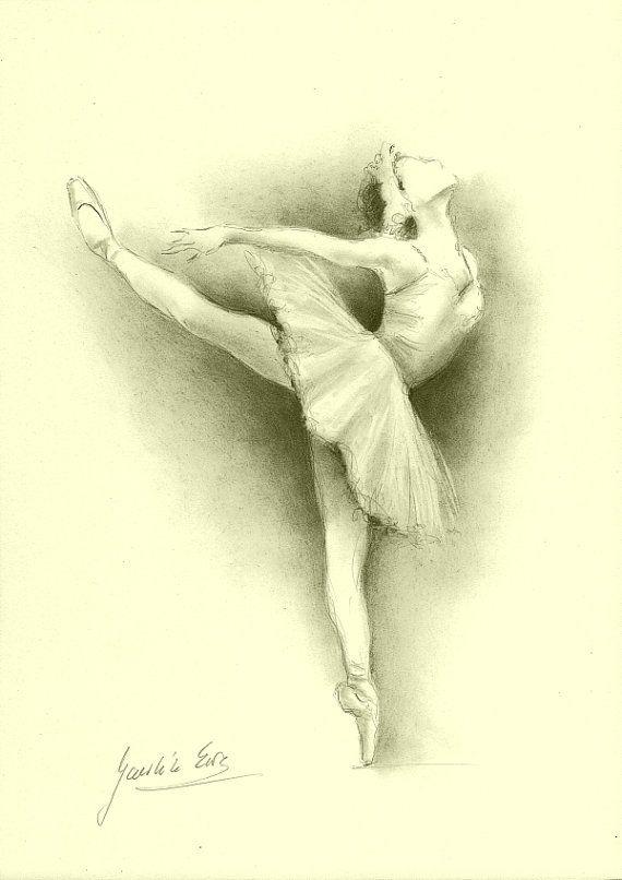 ORIGINAL pencil drawing 12 x 8 on CREAM paper of BALLERINA by Ewa Gawlik.