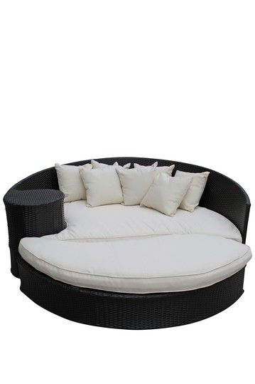 Modway Taiji Outdoor Wicker Patio Daybed With Ottoman Espresso White Outdoor Daybed Daybed Sets Rattan Daybed