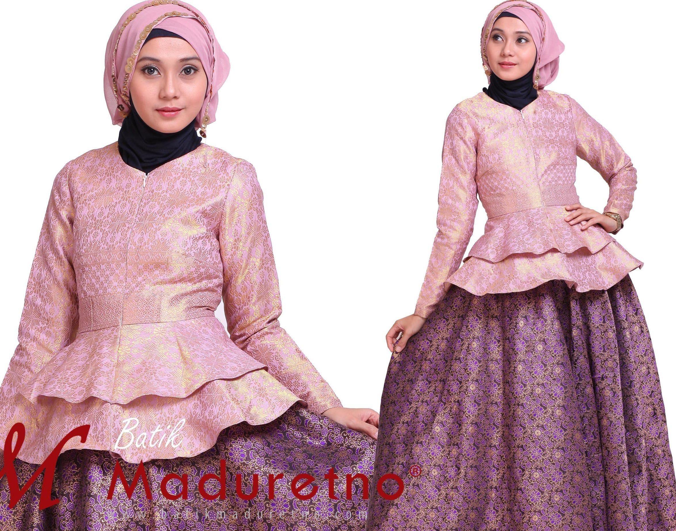 Model Gamis Batik Songket Kombinasi Polos di 10  Model pakaian