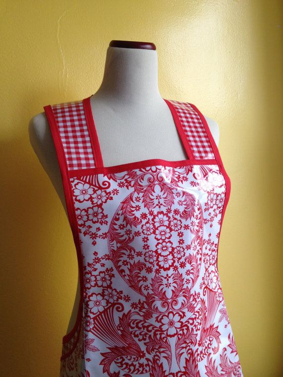 Oilcloth apron in blue lace dress