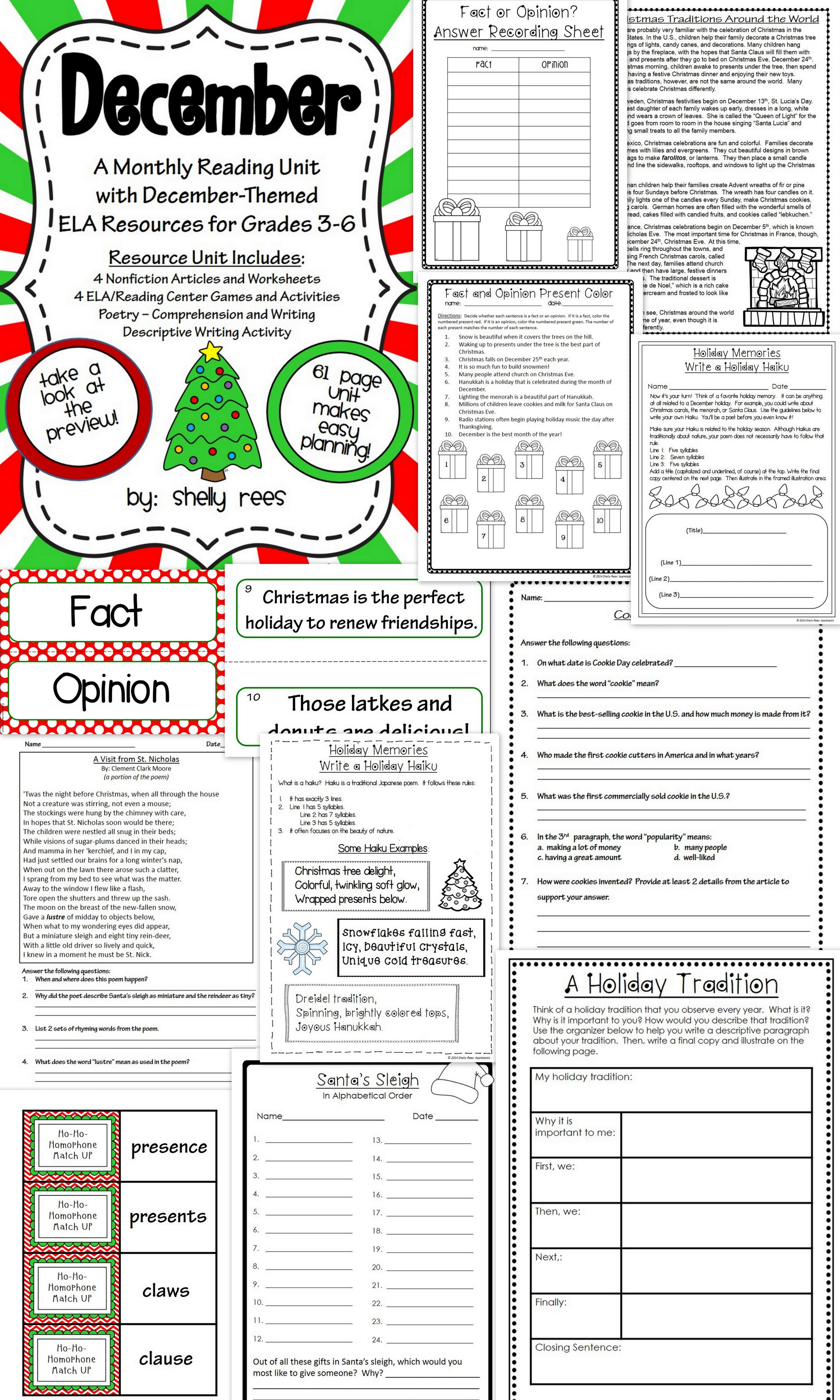 Uncategorized Christmas Comprehension Worksheets christmas read alouds for upper elementary free activities reading comprehension passages december unit