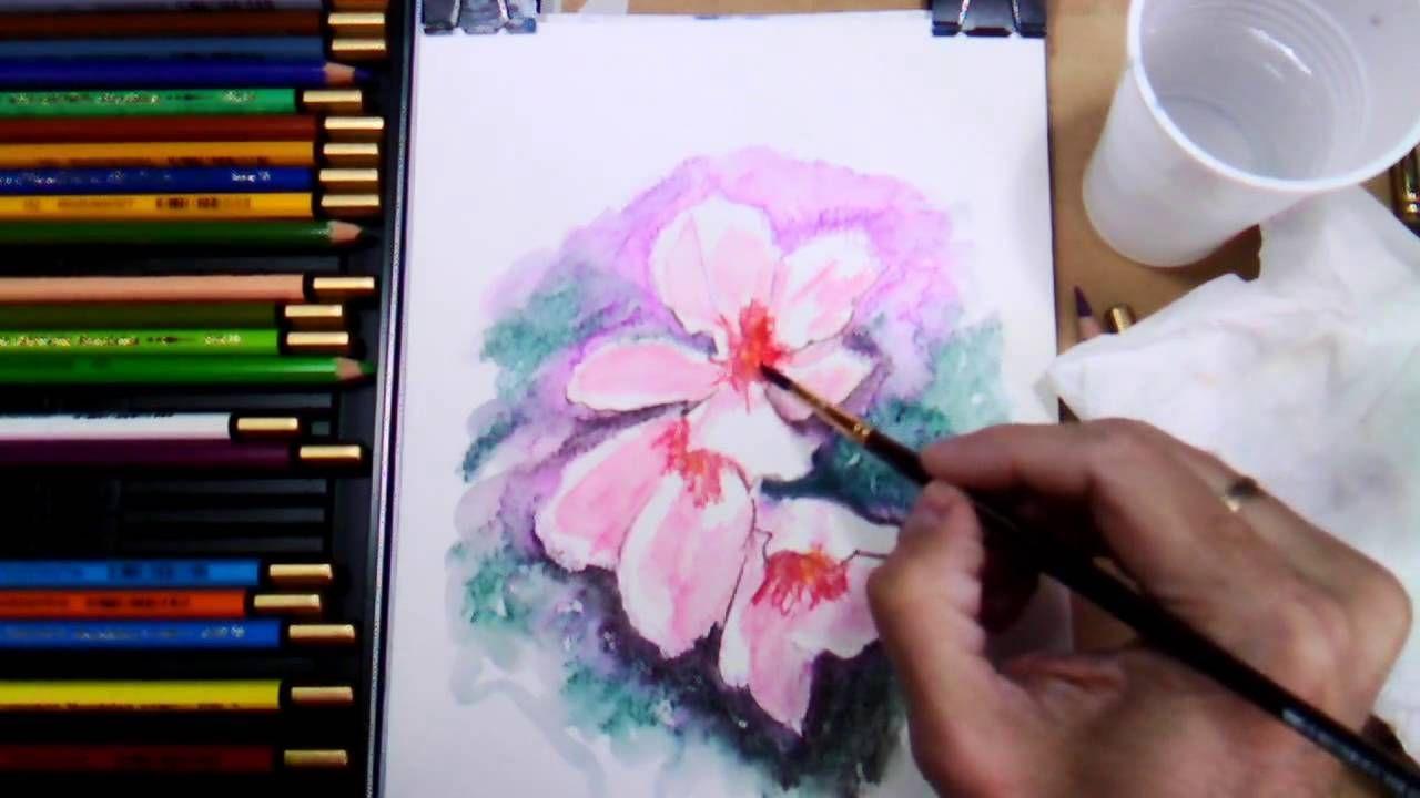 Como Pintar Flores Con Lapices Acuarelables Paso A Paso Y Muy Facil Lapices De Acuarela Como Pintar Acuarela Acuarela Para Principiantes