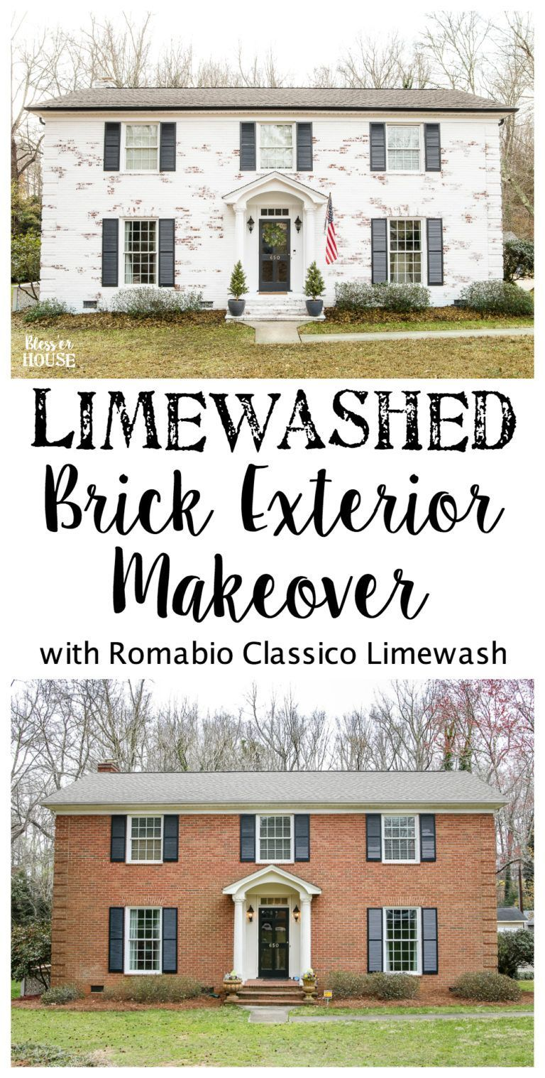 Limewashed Brick Exterior Makeover Reveal | blesserhouse.com - A ...