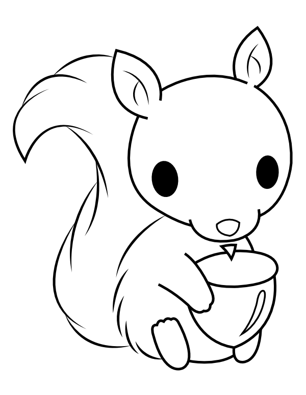 Baby Squirrel With Acorn Coloring Page Squirrel Coloring Page Kitty Coloring Coloring Pages