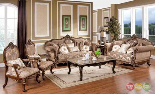 Victorian Traditional Antique Style Sofa Loveseat Formal Living