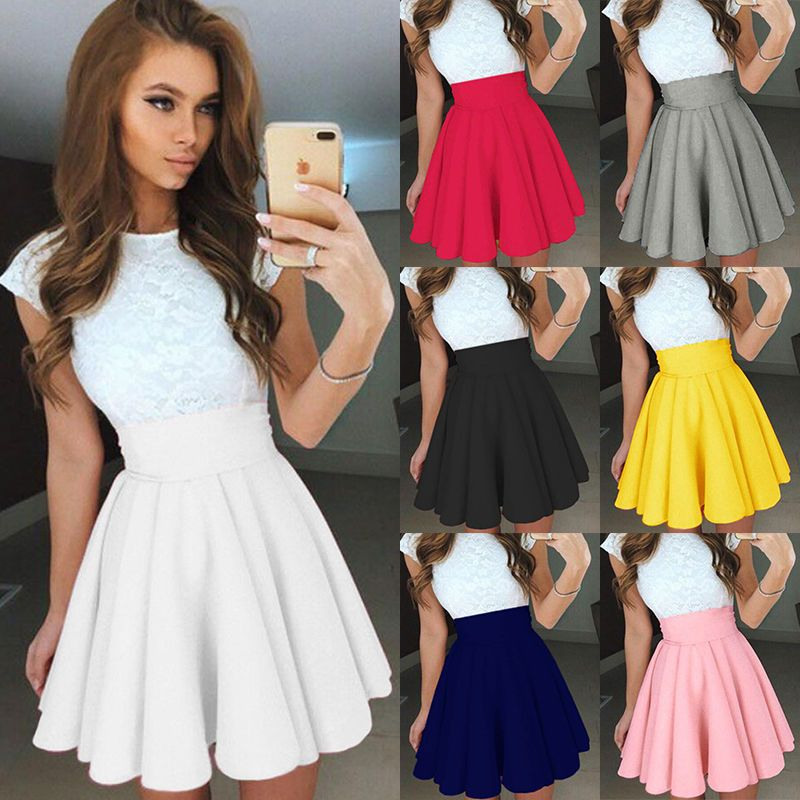 Mini Dress Party Skirt Swing Women Sleeveless Casual High Waist Line Skater