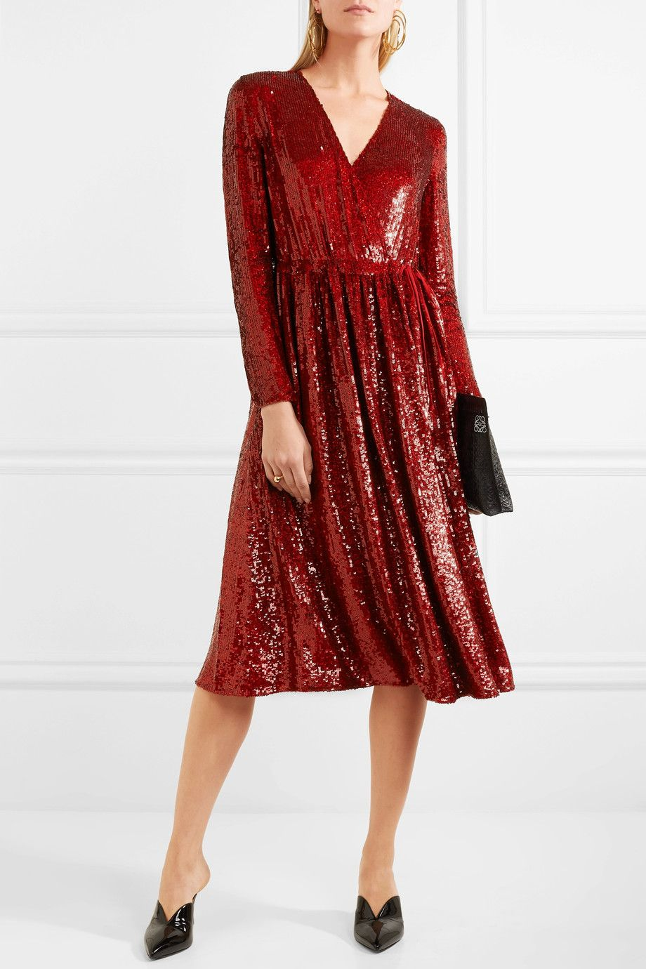Sequined Silk-georgette Wrap Dress - Red Ashish Sale With Paypal Footlocker Finishline Sale Online Clearance Online 186ig84VC