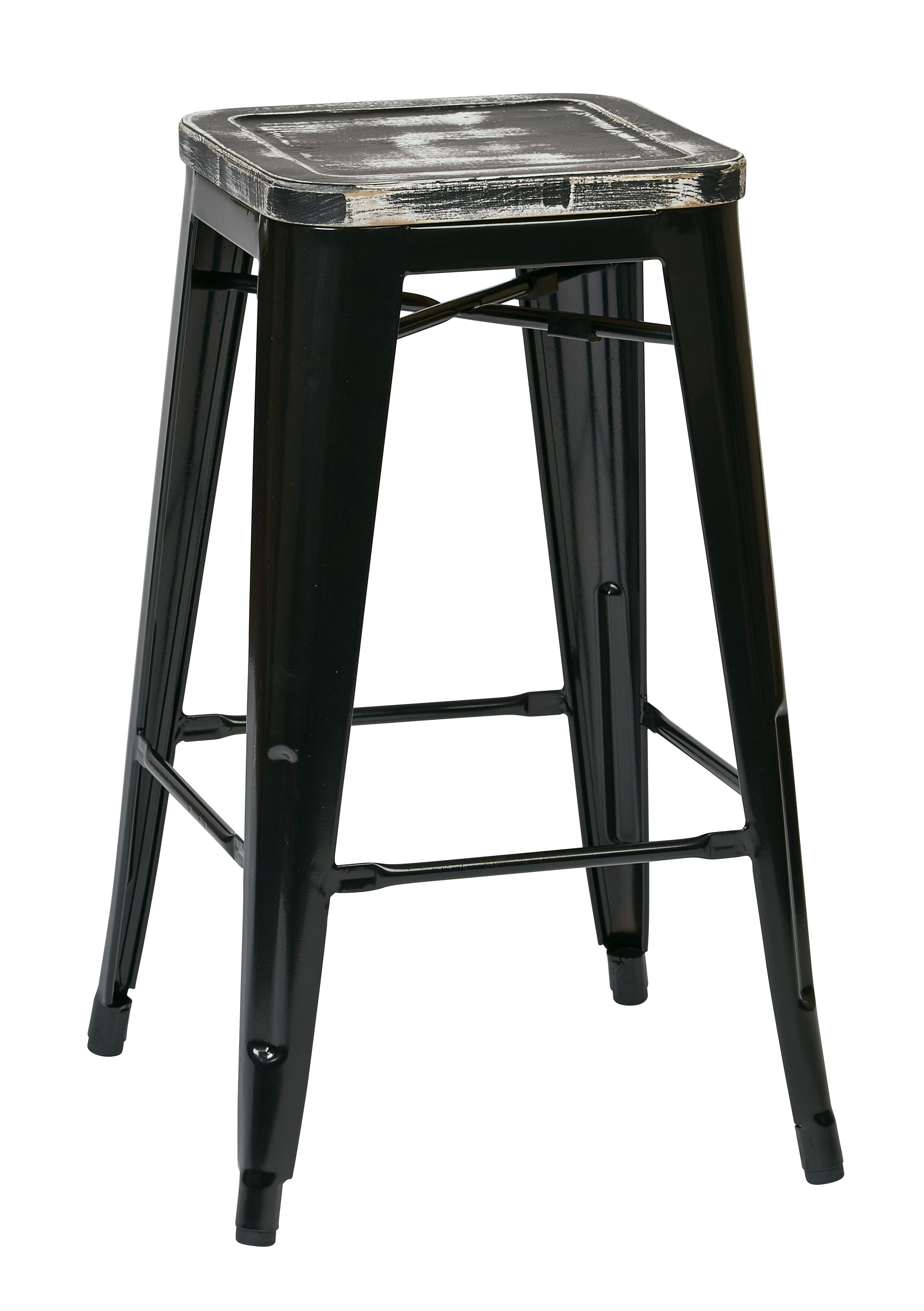 OSP Designs Bristow 26 Antique Metal Barstool with Vintage Wood Seat, Black Finish Frame & Ash Crazy Horse Finish Seat, 2 Pack, White