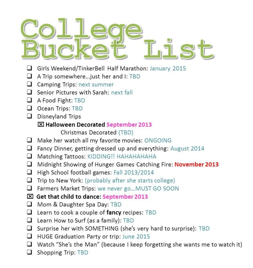 We are tackling our College Bucket List a little at a time. Doing as much as we can before our kid leaves for college!  via: Life of Jill