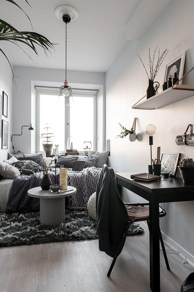 A teeny tiny studio apartment often looks