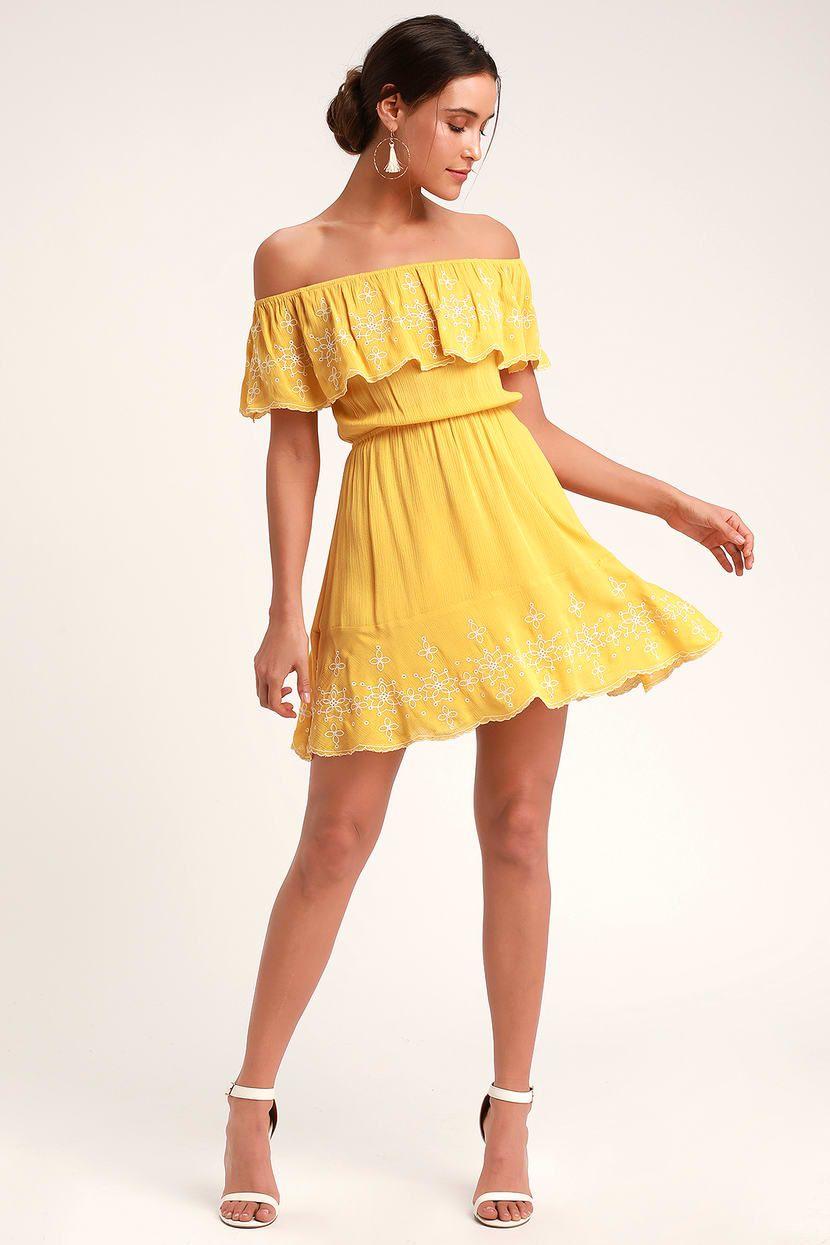 ebb413c214ab Lulus | Layla Mustard Yellow Ruffle Embroidered Skater Dress | Size ...