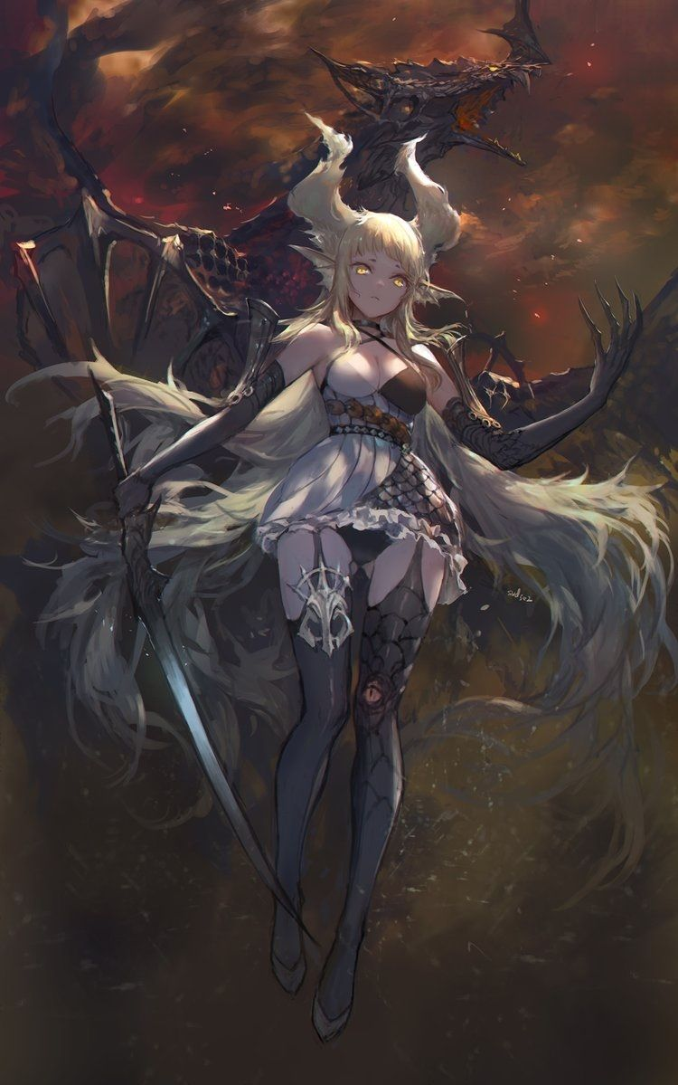 Human Form Of The Great Legendary Black Dragon Anime Warrior Girl Anime Warrior Anime Art Girl