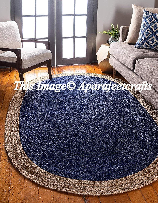 Indian Jute Floor Rug Rag Handmade Jute Rug Natural Jute Oval Rug