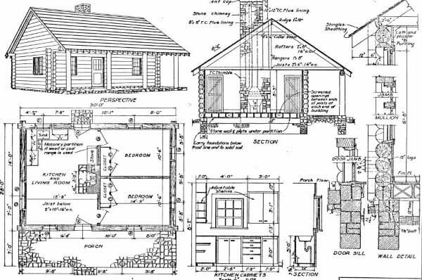 Log Home Plans: 40 Totally Free DIY Log Cabin Floor Plans Part 50