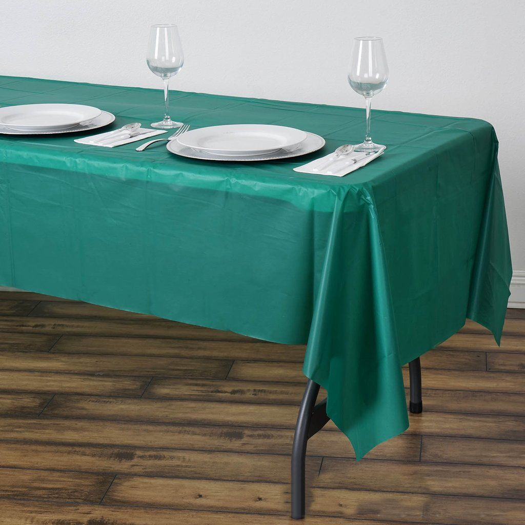 54 X 108 Hunter Emerald Green 10 Mil Thick Waterproof Tablecloth Pvc Rectangle Disposable Tablecloth In 2020 Picnic Table Covers Plastic Table Covers Plastic Tables