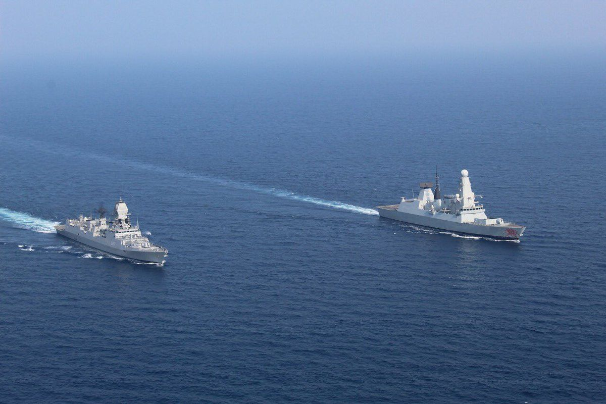 Royal Navy Type 45 Destroyer Hms Dragon And Indian Navy