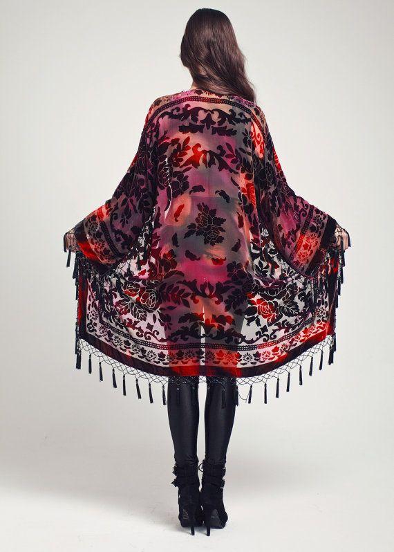 Tie-Dye Velvet Kimono Jacket - The Red Velvet | Kimono jacket, Red ...