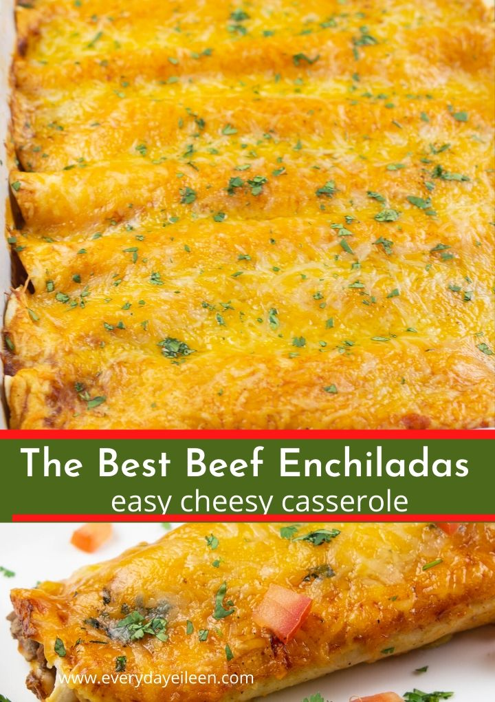 Easy Ground Beef Enchiladas Recipe With A Tasty Center Filled With Beef Beans And Cheese T In 2020 Beef Enchilada Recipe Easy Beef Enchiladas Ground Beef Enchiladas