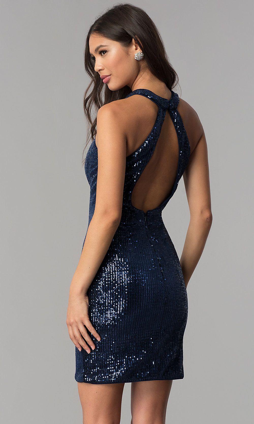 Short Navy Blue High-Neck Sequin Homecoming Dress #navyblueshortdress