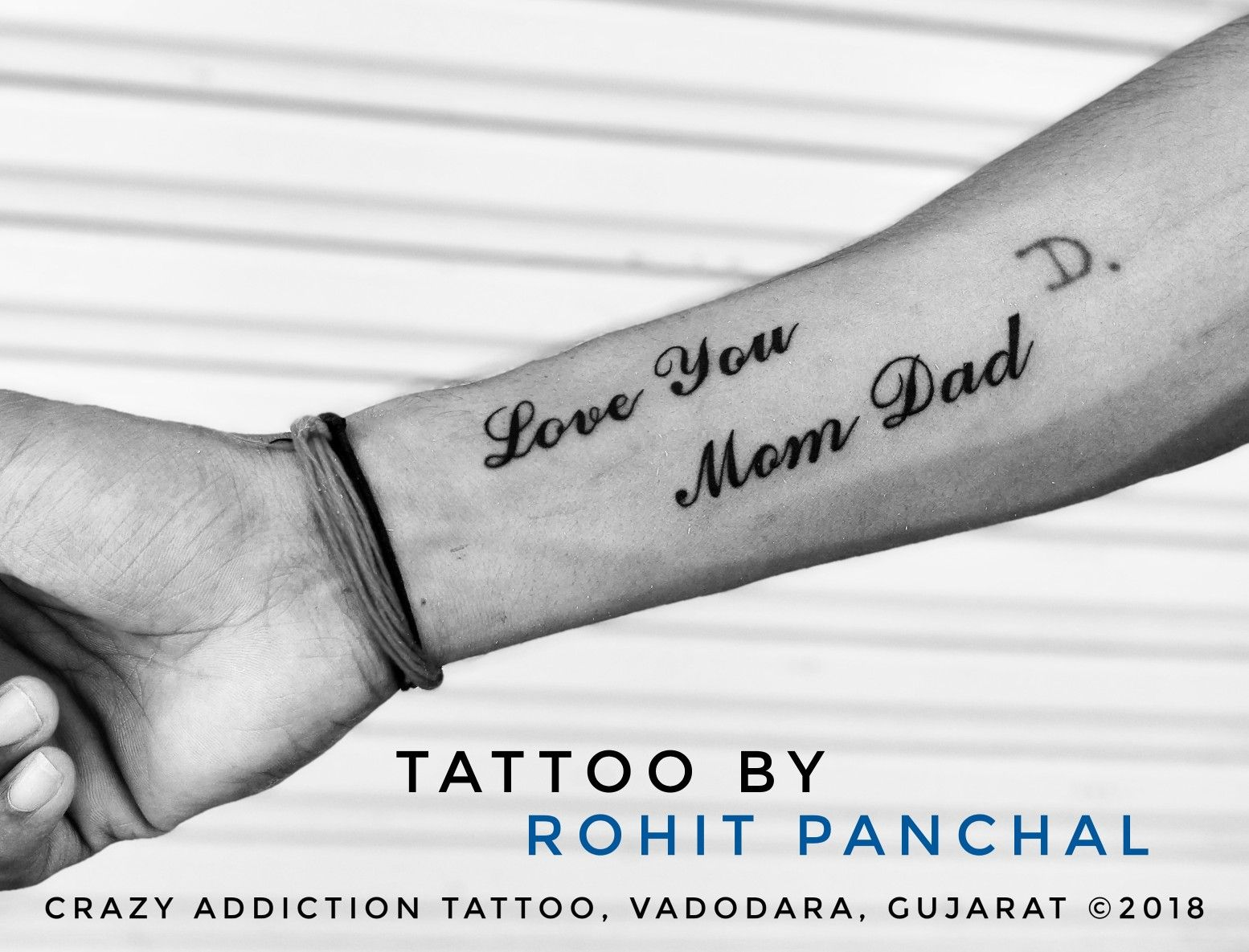 Love You Mom Dad Tattoo By Rohit Panchal At Crazy Addiction Tattoo