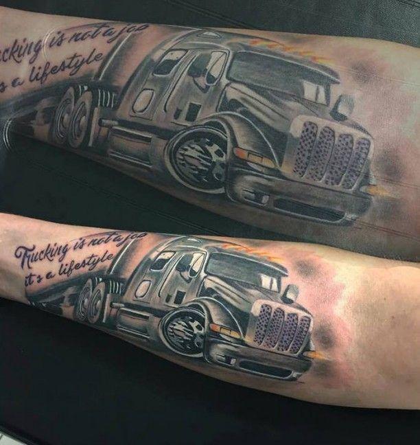 truck tattoo mit schrift tattoos pinterest truck. Black Bedroom Furniture Sets. Home Design Ideas